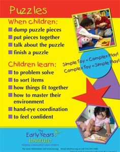 Puzzles Poster. For more Play pins visit: http://pinterest.com/kinderooacademy/learning-through-play/ ≈ ≈