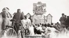 The ever-popular Punch and Judy show on the central beach, looking seawards in 1935. Lest it be thought that the name Prof. P Carcass was just a joke, it must be said that in the Brighton Directories of the mid 1930s No. 17 Artillery Street is shown as occupied by a Professor P. Car-Cass, so this seems to be a genuine name.   Image Reference: JG_03_080.tif  Date: 1935  Image Details: Copy  Size of Original: 242x136  Place: Brighton  Additional Information: No comment