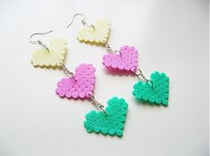 Tripples - earrings by JK made of hama beads  more on http://www.facebook.com/media/set/?set=a.397341680286071.88760.294249787261928=1
