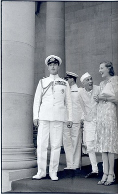 One of the most famous photos by Henry Cartier-Bresson.  In 1947, Henri Cartier-Bresson was in India for the first time to document the newly independent India. His most famous picture of the Independent India was that of Viceroy Lord Mountbatten, and PM Nehru on the steps of Government House, Delhi. Nehru and Mountbatten's wife Edwina shared a joke while the viceroy looked whimsically away.