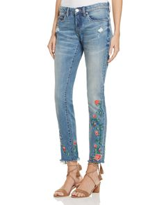BLANKNYC Embroidered Skinny Ankle Jeans in Wild Child - 100% Exclusive