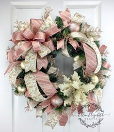 Christmas Wreaths for front door Elegant Christmas Wreaths Poinsettia Wreaths Christmas door wreath Rose Gold Wreath Trending wreath by EllenElizabethWreath on Etsy
