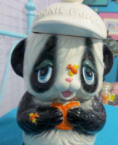Vintage Panda Cookie Jar Japan