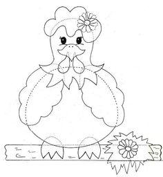 Hen for applique Applique Templates, Applique Patterns, Applique Quilts, Embroidery Applique, Felt Patterns, Quilt Block Patterns, Quilt Blocks, Crazy Quilting, Coloring Books