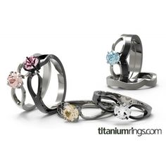 """A bouquet of engagement rings :) """"To Infinity"""" solitaire - available in natural or black diamond finish titanium, matching band available as well"""