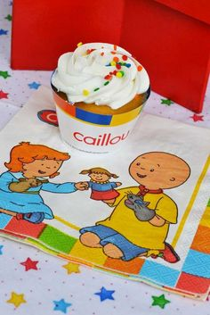 Cupcakes at a Caillou birthday party! See more party ideas at CatchMyParty.com!