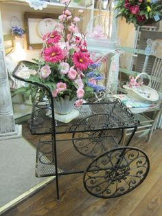 Vintage Wrought Iron Garden Tea Cart Planter...Shabby Distressed Black FREE Shipping