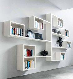 Minimalist Bookshelves, Creative Bookshelves, Modern Bookshelf, Bookshelf Design, Wall Shelves Design, Bookshelf Ideas, Diy Bookshelf Wall, Small Wall Shelf, White Wall Shelves