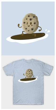 Cookie Surfer! Grab this absolutely kawaii design of a choc chip cookie surfing milk.