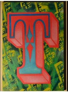 """T"" monograph stencil art graffiti sain los primos 35×50 canvas freestyle background painted for a friend"