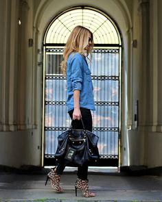 Zara Shirt, Zara Pants, Balenciaga Bag, Zara Heels