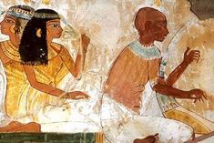 A harpest entertains in ancient Egypt. Many tomb paintings show musicians playing various size and style harps. Harps are even depicted as being played by deities
