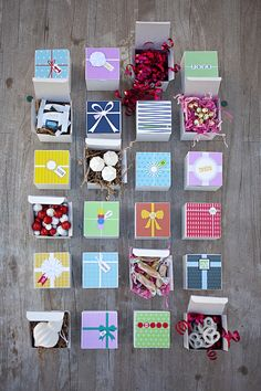 Easy DIY advent calendar! Download and print each design, then cut and paste on top of 3×3 boxes. Fill with your favorite sweets!