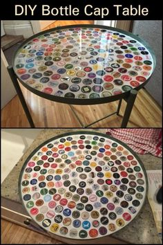 Do you want to make your table cool and more stylish? Collect those bottle caps and use them to accessorize your tables. Bottle Cap Art, Diy Bottle, Diy Table Top, A Table, Bottle Top Tables, Round Bar Table, Patio Umbrella Stand, Furniture Makeover, Furniture Ideas