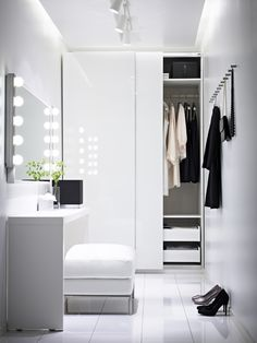 minimalist closet design ideas white furniture walk in closet dressing table Ikea Pax Wardrobe, Wardrobe Closet, Closet Bedroom, White Wardrobe, Small Wardrobe, Wardrobe Doors, Closet Space, Closet Doors, Walk In Closet Small