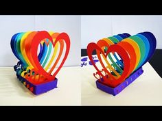 Pop up card (rainbow hearts) - learn how to make a popup heart greeting card - EzyCraft - YouTube