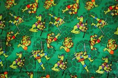 "Over 1 Yd Teengae Mutant  Ninja Turtles  Cotton Quilting Fabric 45""X 43""   #SpringsCreative"
