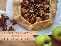 hierbas y especias: pastel rústico de manzanas y nueces caramelizadas y una explicación