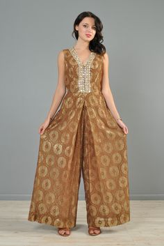 1960s Lamé + Lace Beaded Palazzo Jumpsuit | BUSTOWN MODERN