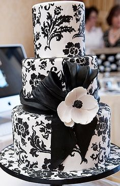 The only thing I dislike, is that the base also is damask print, it should be black as it takes away from the cake. Cake Wrecks - Home Black White Cakes, Black And White Wedding Cake, White Wedding Cakes, Beautiful Wedding Cakes, Gorgeous Cakes, Pretty Cakes, Amazing Cakes, Damask Wedding, Cake Wedding
