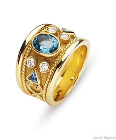 18kt Yellow Gold Dia/Aqua Etruscan Ring(1/4 ct twt dmds)(1 ct twt aqua)--I have always longingly eyed these beautiful Etruscan styled rings. This one is beautiful with the aquamarine and diamonds.