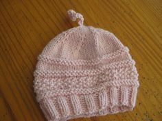 free knitting baby Hat Pattern | Pink hat in Knit One Crochet Too Baby Boo