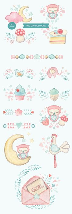 IT'S A GIRL watercolor set by Lemaris on @creativemarket