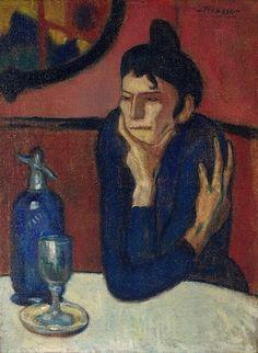 """Pablo Picasso, """"La buveuse d'absinthe""""  (1901) Portrait, bleu, décor simple, scène de la vie quotidienne"""