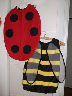 Déguisement pour un défilé avec le centre aéré, coccinelle pour Suzel et abeille (ou bourdon ?) pour Gabriel !    Patron maison inspiré d'un...