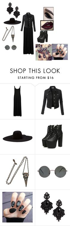 """""""gothic outfit"""" by monsterhex ❤ liked on Polyvore featuring Topshop, LE3NO, Lanvin, Pamela Love and Tasha"""