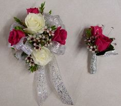 Hot Pink and White Spray Roses with Wax Flowers and Sparkly Silver Ribbon