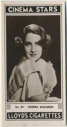 1935 Lloyd Cinema Stars Tobacco Cards, Second Series gallery. The pictured card is one of two different Norma Shearer cards in this set of 27 glossy tobacco cards.
