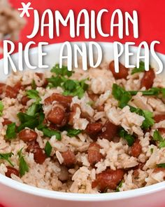 Jamaican Rice And Peas -Tasty - Food Videos And Recipes Jamaican Cuisine, Jamaican Dishes, Jamaican Recipes, Jamaican Oxtail, Carribean Food, Caribbean Recipes, Jamaican Rice And Beans, Recipe For Jamaican Rice And Peas, Jamaican Cabbage