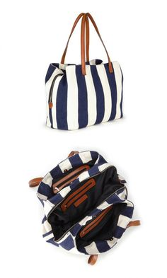 Oversized woven tote bag in navy & white stripe with shoulder straps, zipper closure and three inside sections
