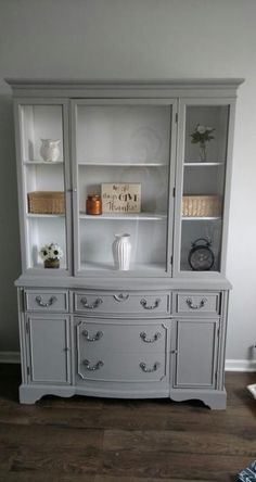 Refinished China Cabinet, Painted China Cabinets, Painted Hutch, Chalk Paint Hutch, Refurbished Furniture, Repurposed Furniture, Furniture Makeover, Painted Furniture, Refurbished Hutch