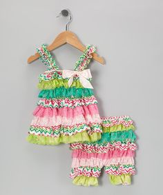 FIESTA!!!! Take a look at this Green & Pink Zigzag Ruffle Dress & Shorts - Infant by Diva Daze on #zulily today!
