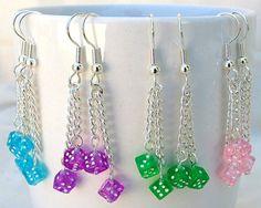 Dice Dangle Earrings Pink Dice Earrings Blue by SaltwaterDaydreams