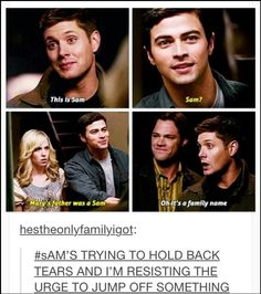 DEANS JUST LIKE OH WEVE MET BEFORE AND SAMS SEEING HIS MOM FOR THE FIRST TIME HELL EVER REMEMBER