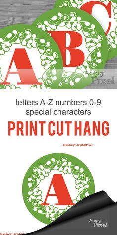 #Alphabet & #Number - large #circle - #Christmas - #green, ornate design - #printable #PDF files - party banner letters - instant download  Banner Letters and Numbers in Ornate Circle PDF files by ArigigiPixel for DIY Personalized Banner Christamas banner letters - green circle with red letters