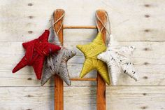 Christmas Ornament. Rustic Yarn Wrapped Star Ornament.