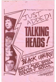 Talking Heads & Black Uhuru. Santa Barbara County Bowl, August, 1982.