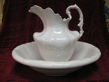 Antique Victorian Ironstone Pitcher and Basin....I have the jug and potty now all I need is the bowl!!!....might have to trade my lovely flow blue jug and bowls that I have two complete sets of -  in for a lovely plain one I think....