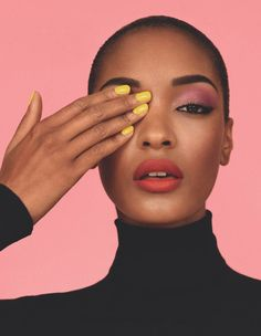 Jordan Dunn contrasting nails with makeup