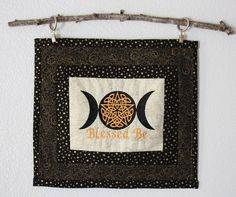 Blessed Be Celtic Pentacle Wall hanging, altar piece, Wiccan, candlemat by AWellAppointedWitch on Etsy