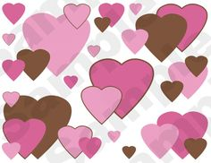 PINK BROWN HEARTS wallpaper border wall decals for baby girl nursery or kids room decor. Bright, vivid colors. Beautiful and unique. #decampstudios