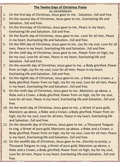 12 days of Christmas Praise Song to the Tune of the 12 Days of Christmas Days Of Christmas Song, Christmas Songs Lyrics, Merry Christmas, Christmas Poems, Christmas Program, Christmas Party Games, Christmas Traditions, Christmas Holidays, Christmas Decorations