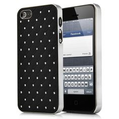 Rhombus Pattern with Studded   Rhionstone Electroplated Hard Case for iPhone 5-Black