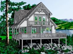 Cottage Style House Plans - 1370 Square Foot Home , 2 Story, 3 Bedroom and 2 Bath, Garage Stalls by Monster House Plans - Plan 26-107