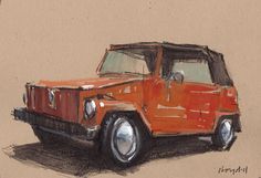 "I HAVE TO HAVE A ""THING""!  Original Painting VW Thing Vintage Auto Watercolor by lloydgallery, $39.00"