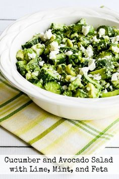 This salad with cucumber, avocado, lime, mint, and Feta is a delicious combination! And this tasty salad with so many of my favorite flavors is low-carb, Keto, low-glycemic, gluten-free, vegetarian, and South Beach Diet phase one. Use the Recipes-by-Diet-Type Index to find more recipes like this one. Click here to PIN Cucumber and Avocado Salad with Lime, Mint, …